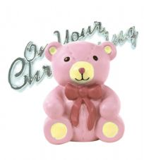 Pink Teddy Bear Resin Topper with Christening Motto